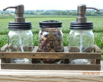 4 pc-Handcrafted Clear mason jar soap dispenser Set-rustic crate with High Longevity metal pump and choice of Primitive Lid and pump color.