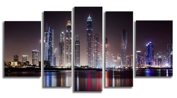 Glass Wall Art Acrylic Decor Set Dubai Skyscrapers at Night, 5 Stars Gift and a Clock Startonight Set of 5 Total 35.43 X 70.87 Inch