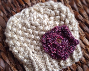 Newborn beanie hat with flower