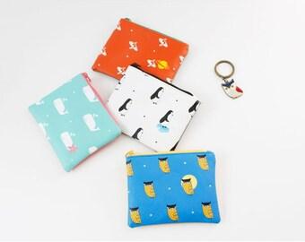 Animal pattern (Whale, Penguin, Owl, planet)  pouch / purse