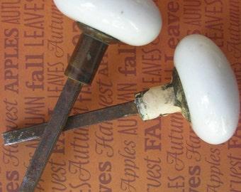 Vintage Porcelain Doorknobs with Spindles White Set of 2 1930's
