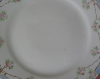 Vintage Handpainted Nippon Dessert Plate Pink Roses Blue Gold Bows1920's