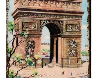 Arch De Triumph Paris France Vintage Metal Sign Retro Tin Plaque Advert