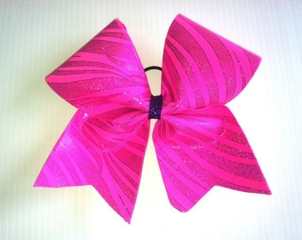 Pink swirl cheer bow