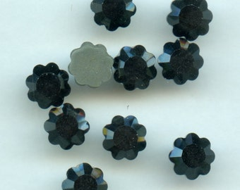 2712 SS34 H hf*** 8 Swarovski flowers rhinestones flat back, hotfix SS34 (7mm2) jet hematite***x8