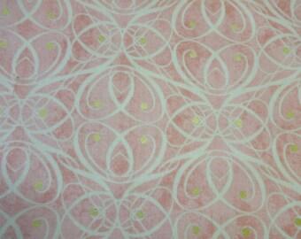 General Fabrics Salmon w/Beige Swirls & Gold Dots 326
