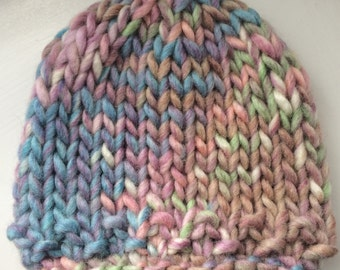 Super Chunky Hand Knitted Baby Hat in Sirdar Kiko for everyday use or photo prop