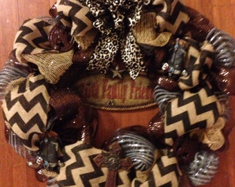 """Country """"Faith Family Friends"""" Wreath - Black Chevron Burlap, Silver / Black, Brown Deco Mesh with Large Cheetah Print Wired Bow"""