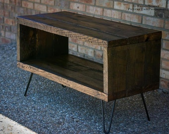 "TV Stand Made From Reclaimed Barn Wood - Solid Oak W/ 8"" Hairpin legs."