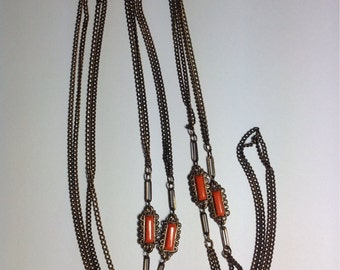 Vintage Art Deco Long Chain with Orange Accents, 54""