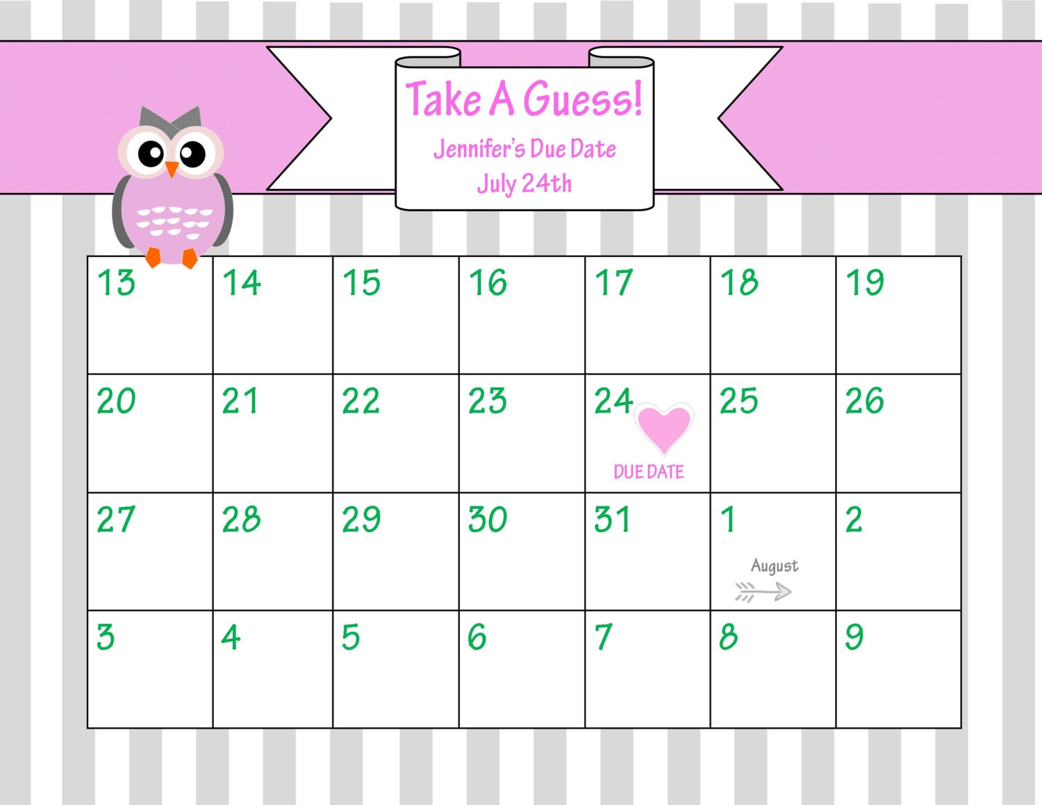 Printable due date calendar baby shower game guess the for Guess the baby weight template