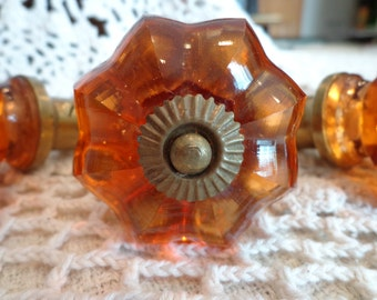 Vintage Amber Glass Doorknob with Antique Brass finial