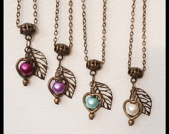 Twelve Colours Bronze Pearl Heart Necklace Handmade by Emerald Forest Designs