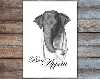 Elephant poster - Bon appetit print, french decor