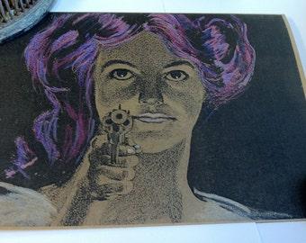 She's Got a Gun!! Hand Painted Note Card