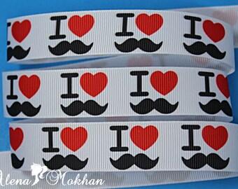 "5 yards 7/8"" I Love Mustache White Printed Grosgrain Ribbon"