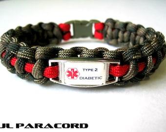 diabetic paracord charm bracelet