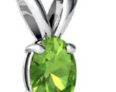 SALE Genuine Peridot Pendant Gold 14k Gemstone August Birthstone 7mmX5mm Oval Natural + Certificate