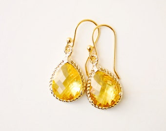 Yellow Glass Earring Crystal Drop Earring Gold Earring Dangle Earring Wedding Earrings Bridesmaid Jewellery Gift for Her