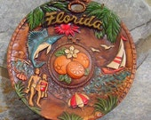 Collectible Florida State Souvnier Plate 1970s by Green Creations - Vintage Florida Collectible Plate