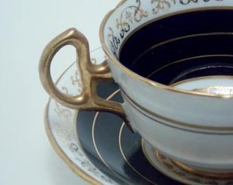 Royal Stafford Vintage Fine Bone China Tea Cup and Saucer Black Gold Lace Like Pattern Gold Trim