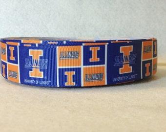 1 Inch University of Illinois Grosgrain Ribbon