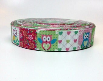 1 Inch Spring Owls, Flowers and Hearts Grosgrain Ribbon