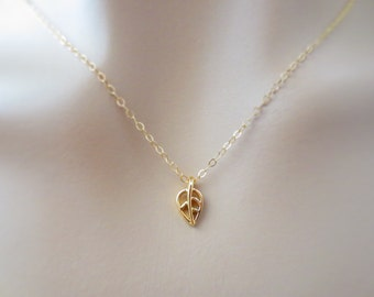 Tiny, Leaf, Gold filled, Chain, Necklace, Small, Leaf, Necklace, Tiny, Jewelry, Birthday, Friendship, Sister, Best friend, Gift, Jewelry