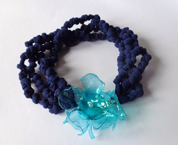 strap knotted necklace and recycled plastic
