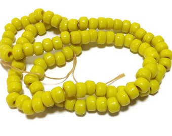 Yellow 9mm Glass Beads, Glass Crow Beads, Approx. 100 Bead Strand, Native American Jewelry Supplies, Craft Beads C31