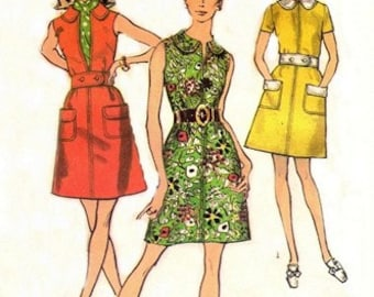 Simplicity 8686 Top Stitched Everyday Dress 1970 / SZ12 UNCUT