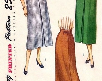 Simplicity 2383 Lovely Afternoon Skirt / ca. 1948 / WAIST 28 UNCUT