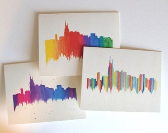 Nashville Skyline Notecards--Original Design, Blank Cards Set of 3 or 4