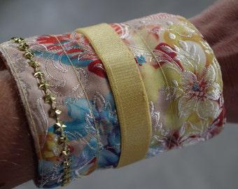Fabric Bracelet. Multicolored. flexible metal frame