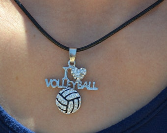 """Volleyball Necklace for Volleyball Team Gift, Volleyball Jewelry, I """"Heart"""" Volleyball Necklace, Girls Volleyball Necklace, Volleyball Gifts"""
