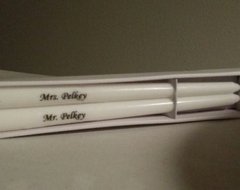 Personalized  Taper candle set / Custom Taper candle set/ personalized taper wedding candle