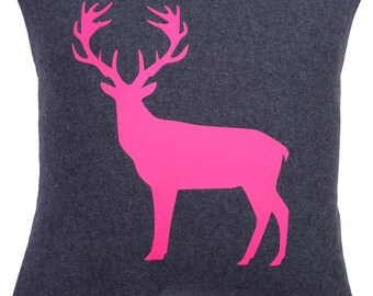 Neon Pink Stag Cushion