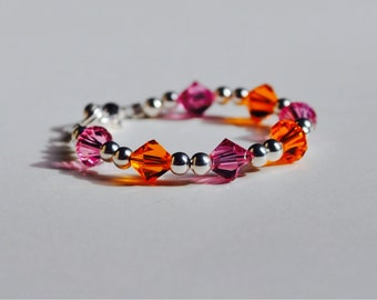Baby girl bracelet, Pink and orange, Swarovski Crystals