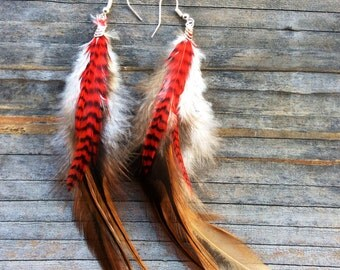 Feather Earrings Natural Brown and Red Stripe
