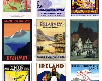 Vintage Travel Clipart Collage Sheet - Instant Digital Download - VINTAGE TRAVEL Ephemera Clip Art Images