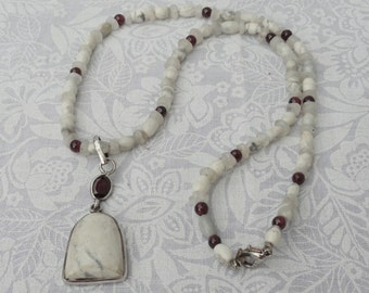 Rainbow Moonstone | Howlite | Garnet | Necklace And Pendant Set | .925 Sterling Silver | Free Shipping & Gift Box/Bag