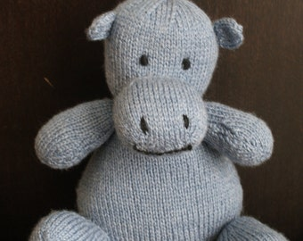 Hand knitted hippo.