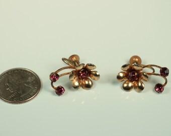 Vintage Purple Rhinestone Earrings