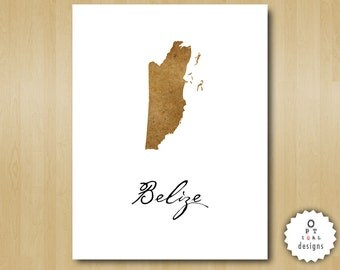 Belize Wall Art - Print Your Home Country Map Art - Printable INSTANT DOWNLOAD