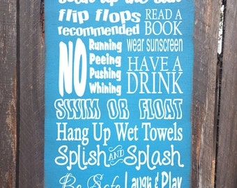 pool sign,  pool decor, Pool Rules Sign, pool house decor, pool house sign, swimming pool sign, backyard decor, 44/38