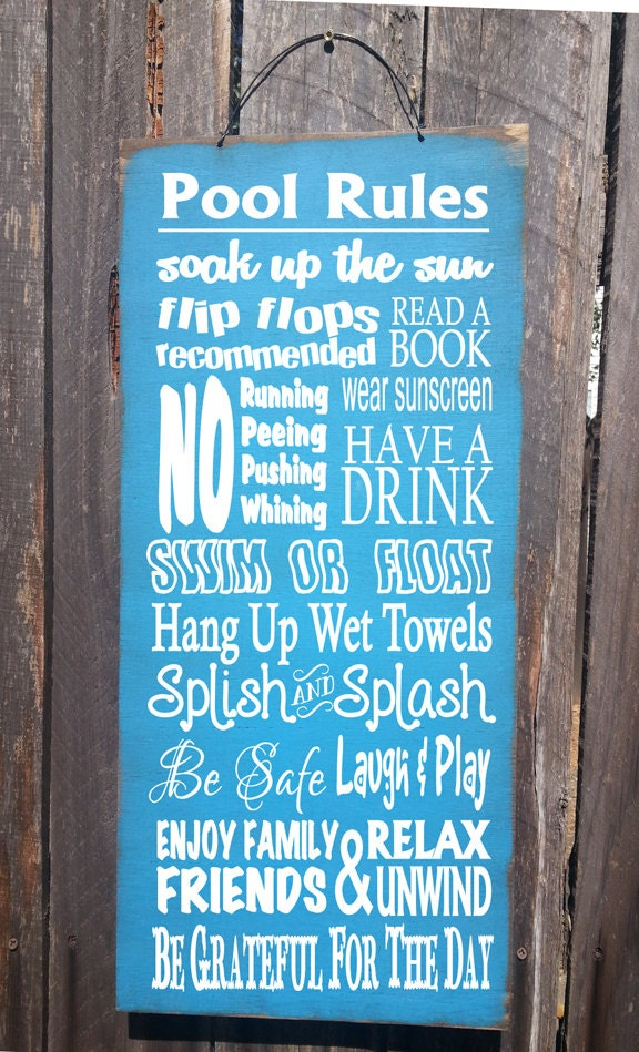 Pool Sign Pool Decor Pool Rules Sign Pool House Decor