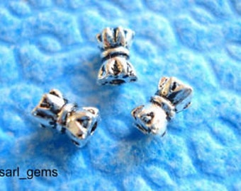 50 Tibetan Silver Bow Tie Spacer Beads 6mm x 4mm