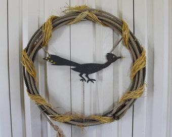 Western Rope Wreath.  Roadrunner and Raffia Lasso Wreath. Western Roadrunner and Rope decor.  Rustic raffia, bling, rodeo rope decor.