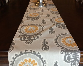 Yellow and Gray Table Runner, Mustard and Gray Table Runner, Mustard Table Runner, Gray Table Runner, Home Decor
