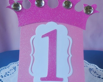 Princess Table Number Tents Set of 6